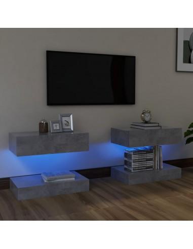 TV spintelės su LED apšvietimu, 2vnt., betono pilkos, 60x35cm  | Pramogų Centrai ir TV Stovai | duodu.lt