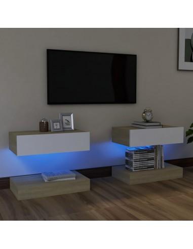 TV spintelės su LED apšvietimu, 2vnt., balta ir sonoma ąžuolo, 60x35cm | Pramogų Centrai ir TV Stovai | duodu.lt
