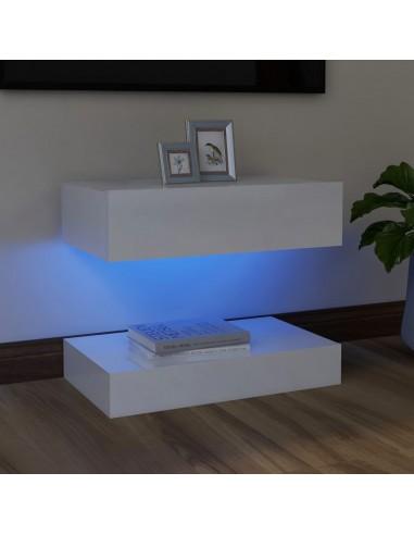 TV spintelė su LED apšvietimu, blizgi balta, 60x35cm    Pramogų Centrai ir TV Stovai   duodu.lt