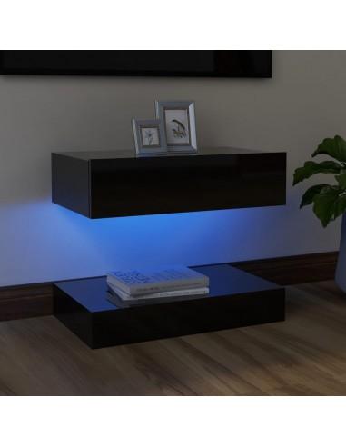 TV spintelė su LED apšvietimu, blizgi juoda, 60x35cm    Pramogų Centrai ir TV Stovai   duodu.lt
