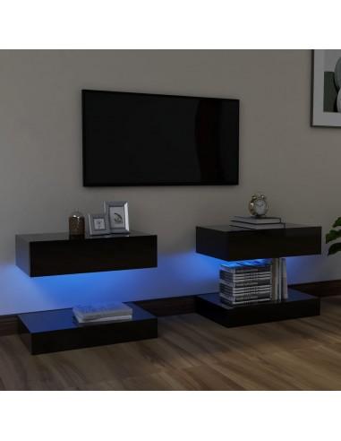 TV spintelės su LED apšvietimu, blizgi juoda, 60x35cm    Pramogų Centrai ir TV Stovai   duodu.lt