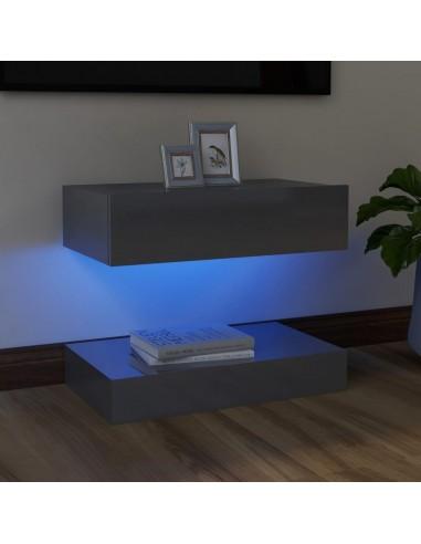 TV spintelė su LED apšvietimu, blizgi pilka, 60x35cm    Pramogų Centrai ir TV Stovai   duodu.lt