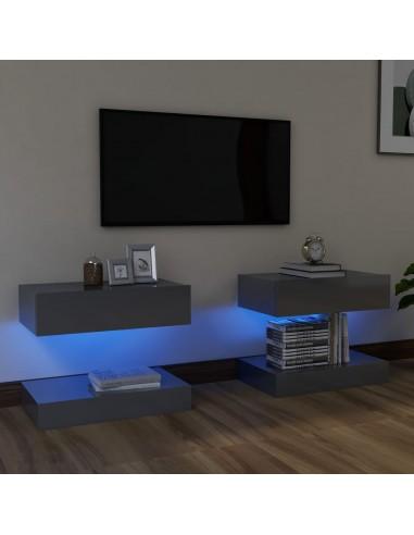 TV spintelės su LED apšvietimu, blizgi pilka, 60x35cm  | Pramogų Centrai ir TV Stovai | duodu.lt