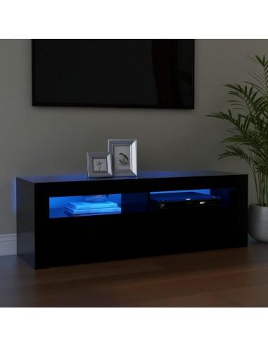 Televizoriaus spintelė su LED apšvietimu, juoda, 120x35x40cm   Pramogų Centrai ir TV Stovai   duodu.lt