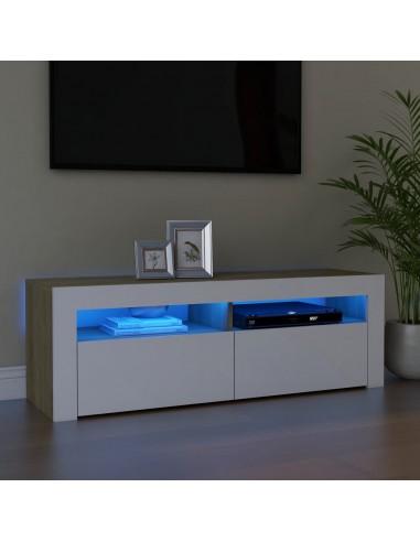 TV spintelė su LED apšvietimu, balta ir ąžuolo, 120x35x40cm | Pramogų Centrai ir TV Stovai | duodu.lt