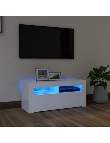 Televizoriaus spintelė su LED apšvietimu, balta, 90x35x40cm | Pramogų Centrai ir TV Stovai | duodu.lt