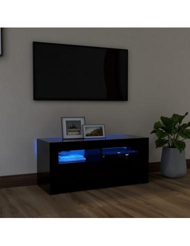 Televizoriaus spintelė su LED apšvietimu, juoda, 90x35x40cm | Pramogų Centrai ir TV Stovai | duodu.lt