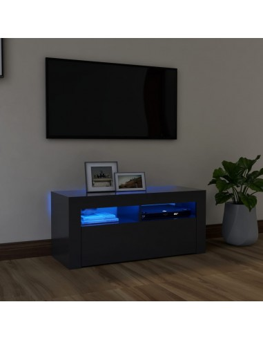Televizoriaus spintelė su LED apšvietimu, pilka, 90x35x40cm   Pramogų Centrai ir TV Stovai   duodu.lt