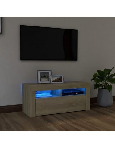 Televizoriaus spintelė su LED apšvietimu, ąžuolo, 90x35x40cm | Pramogų Centrai ir TV Stovai | duodu.lt