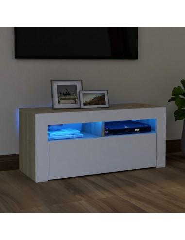TV spintelė su LED apšvietimu, balta/ąžuolo, 90x35x40cm | Pramogų Centrai ir TV Stovai | duodu.lt