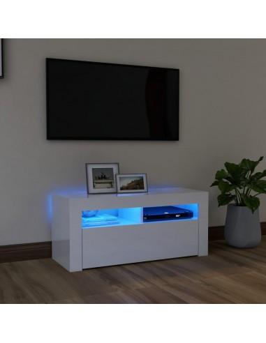 TV spintelė su LED apšvietimu, balta, 90x35x40cm, blizgi | Pramogų Centrai ir TV Stovai | duodu.lt
