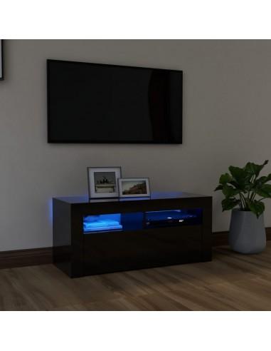 TV spintelė su LED apšvietimu, juoda, 90x35x40cm, blizgi   Pramogų Centrai ir TV Stovai   duodu.lt