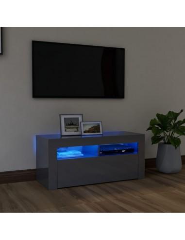 TV spintelė su LED apšvietimu, pilka, 90x35x40cm, blizgi   Pramogų Centrai ir TV Stovai   duodu.lt
