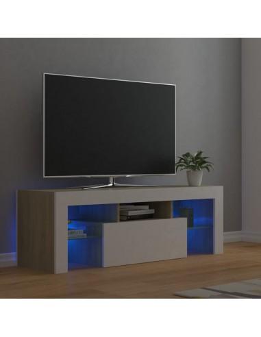 TV spintelė su LED apšvietimu, balta ir ąžuolo, 120x35x40cm   Pramogų Centrai ir TV Stovai   duodu.lt