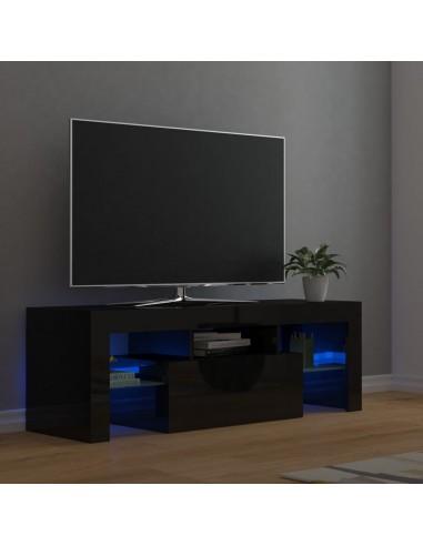 TV spintelė su LED apšvietimu, juoda, 120x35x40cm, blizgi   Pramogų Centrai ir TV Stovai   duodu.lt
