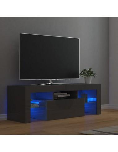 TV spintelė su LED apšvietimu, pilka, 120x35x40cm, blizgi | Pramogų Centrai ir TV Stovai | duodu.lt