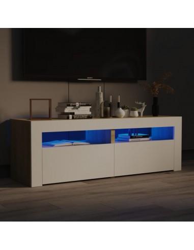 TV spintelė su LED, balta ir sonoma ąžuolo, 120x35x40 cm | Pramogų Centrai ir TV Stovai | duodu.lt