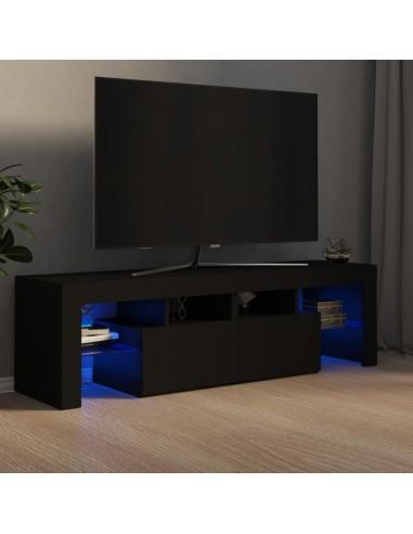 Televizoriaus spintelė su LED apšvietimu, juoda, 140x35x40cm   Pramogų Centrai ir TV Stovai   duodu.lt