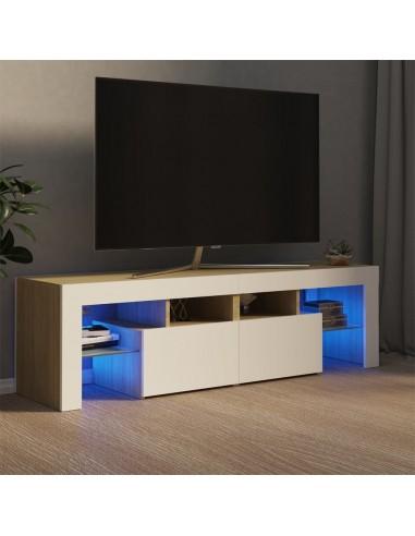 Televizoriaus spintelė su LED, balta/ąžuolo, 140x35x40cm   Pramogų Centrai ir TV Stovai   duodu.lt