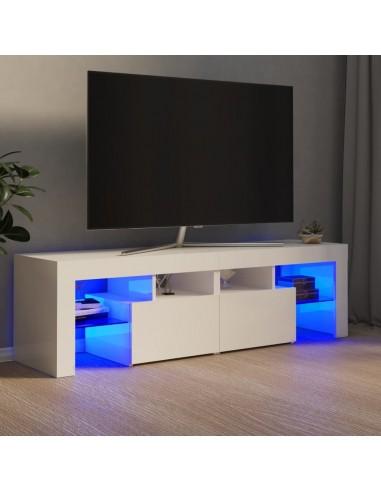 TV spintelė su LED apšvietimu, balta, 140x35x40cm, blizgi | Pramogų Centrai ir TV Stovai | duodu.lt