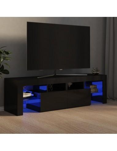 TV spintelė su LED apšvietimu, juoda, 140x35x40cm, blizgi | Pramogų Centrai ir TV Stovai | duodu.lt