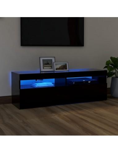 TV spintelė su LED apšvietimu, juoda, 120x35x40cm   Pramogų Centrai ir TV Stovai   duodu.lt