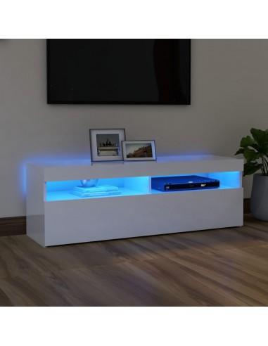 TV spintelė su LED apšvietimu, balta, 120x35x40cm, blizgi | Pramogų Centrai ir TV Stovai | duodu.lt