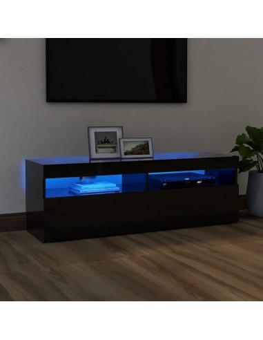 TV spintelė su LED apšvietimu, juoda, 120x35x40cm, blizgi | Pramogų Centrai ir TV Stovai | duodu.lt