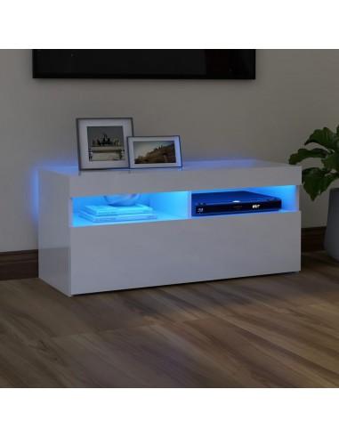 TV spintelė su LED apšvietimu, balta, 90x35x40cm, blizgi   Pramogų Centrai ir TV Stovai   duodu.lt