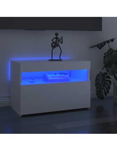 TV spintelė su LED apšvietimu, balta, 60x35x40cm, blizgi   Pramogų Centrai ir TV Stovai   duodu.lt