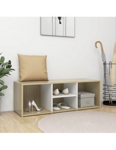 Spintelė batams-suoliukas, balta/ąžuolo, 105x35x35cm, MPD | Stovai ir Lentynos Avalynei | duodu.lt
