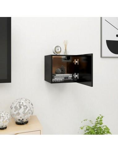Sieninė televizoriaus spintelė, juoda, 30,5x30x30cm    Pramogų Centrai ir TV Stovai   duodu.lt