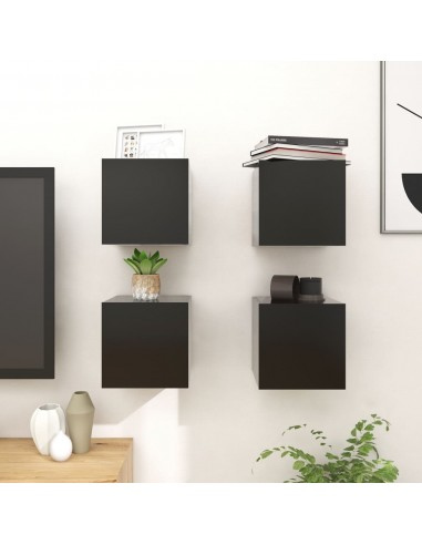 Sieninės televizoriaus spintelės, 4vnt., juodos, 30,5x30x30cm    Pramogų Centrai ir TV Stovai   duodu.lt