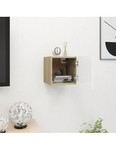 Sieninė televizoriaus spintelė, balta/ąžuolo, 30,5x30x30cm  | Pramogų Centrai ir TV Stovai | duodu.lt