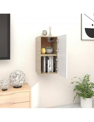 Sieninės TV spintelės, 2vnt., baltos/ąžuolo, 30,5x30x30cm  | Pramogų Centrai ir TV Stovai | duodu.lt