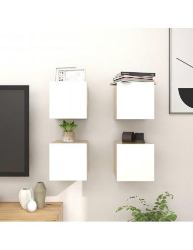 Sieninės TV spintelės, 4vnt., baltos/ąžuolo, 30,5x30x30cm    Pramogų Centrai ir TV Stovai   duodu.lt