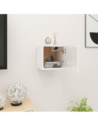 Sieninė televizoriaus spintelė, balta, 30,5x30x30cm, blizgi  | Pramogų Centrai ir TV Stovai | duodu.lt