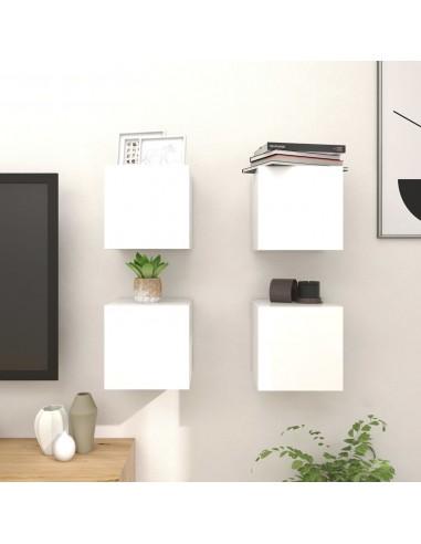 Sieninės TV spintelės, 4vnt., baltos, 30,5x30x30cm, blizgios  | Pramogų Centrai ir TV Stovai | duodu.lt