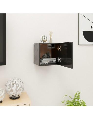 Sieninė televizoriaus spintelė, juoda, 30,5x30x30cm, blizgi  | Pramogų Centrai ir TV Stovai | duodu.lt