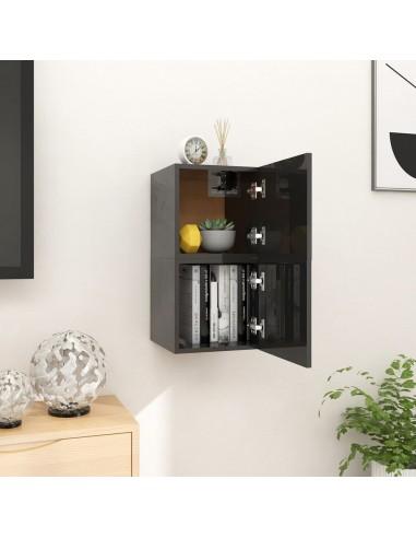 Sieninės TV spintelės, 2vnt., juodos, 30,5x30x30cm, blizgios  | Pramogų Centrai ir TV Stovai | duodu.lt