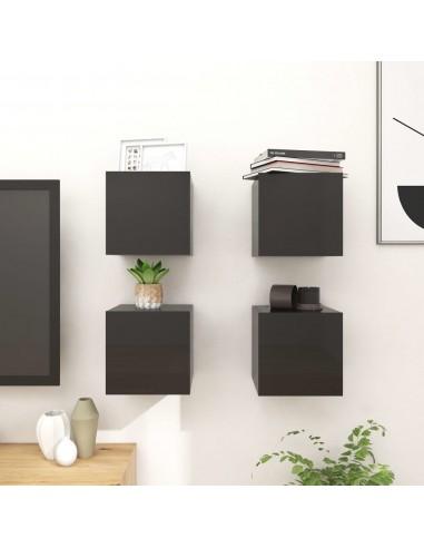 Sieninės TV spintelės, 4vnt., juodos, 30,5x30x30cm, blizgios  | Pramogų Centrai ir TV Stovai | duodu.lt