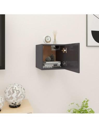 Sieninė televizoriaus spintelė, pilka, 30,5x30x30cm, blizgi  | Pramogų Centrai ir TV Stovai | duodu.lt