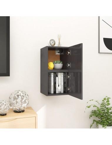 Sieninės TV spintelės, 2vnt., pilkos, 30,5x30x30cm, blizgios  | Pramogų Centrai ir TV Stovai | duodu.lt