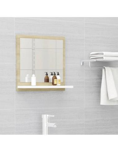 Vonios kambario veidrodis, baltas ir ąžuolo, 40x10,5x37cm, MDP | Vonios Spintelės | duodu.lt