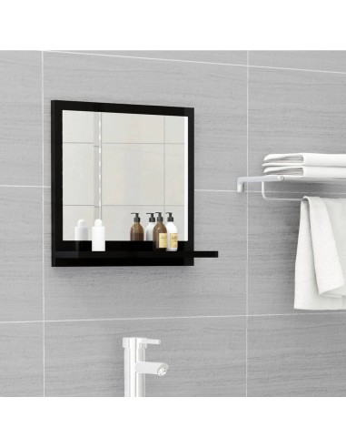 Vonios kambario veidrodis, juodas, 40x10,5x37cm, MDP, blizgus | Vonios Spintelės | duodu.lt