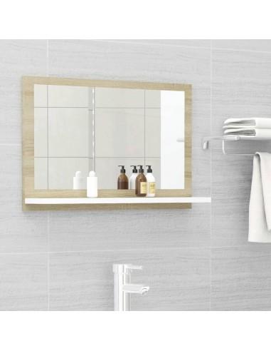 Vonios kambario veidrodis, baltas ir ąžuolo, 60x10,5x37cm, MDP   Vonios Spintelės   duodu.lt
