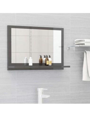 Vonios kambario veidrodis, pilkas, 60x10,5x37cm, MDP, blizgus | Vonios Spintelės | duodu.lt