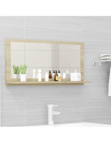 Vonios kambario veidrodis, ąžuolo spalvos, 80x10,5x37cm, MDP | Vonios Spintelės | duodu.lt