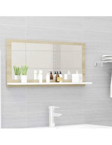 Vonios kambario veidrodis, baltas ir ąžuolo, 80x10,5x37cm, MDP | Vonios Spintelės | duodu.lt