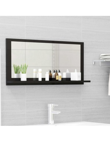 Vonios kambario veidrodis, juodas, 80x10,5x37cm, MDP, blizgus | Vonios Spintelės | duodu.lt